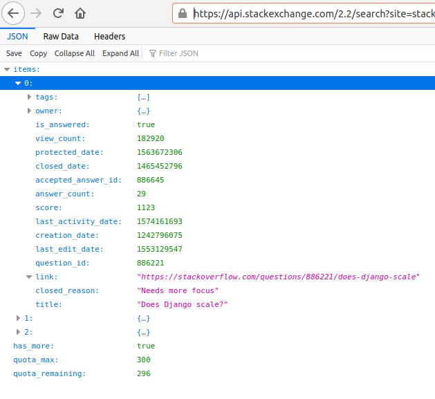 Stack Exchange API results